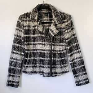 Lucky Brand XS Moto Jacket Black White Plaid Vegan